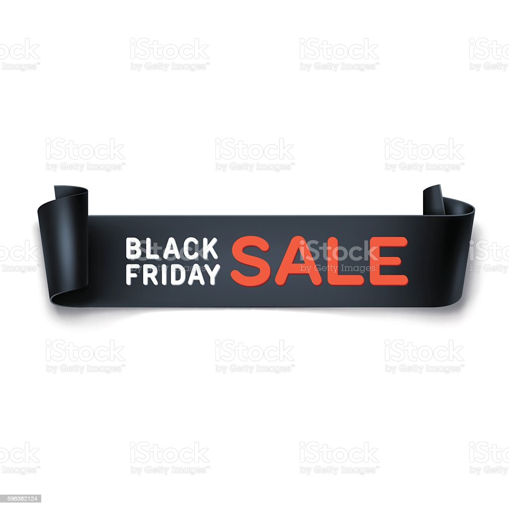 Black Friday sale inscription with black detailed curved ribbon. royalty-free black friday sale inscription with black detailed curved ribbon stock vector art & more images of advertisement