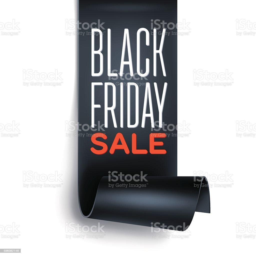 Black Friday sale inscription with black detailed curved ribbon. vector art illustration