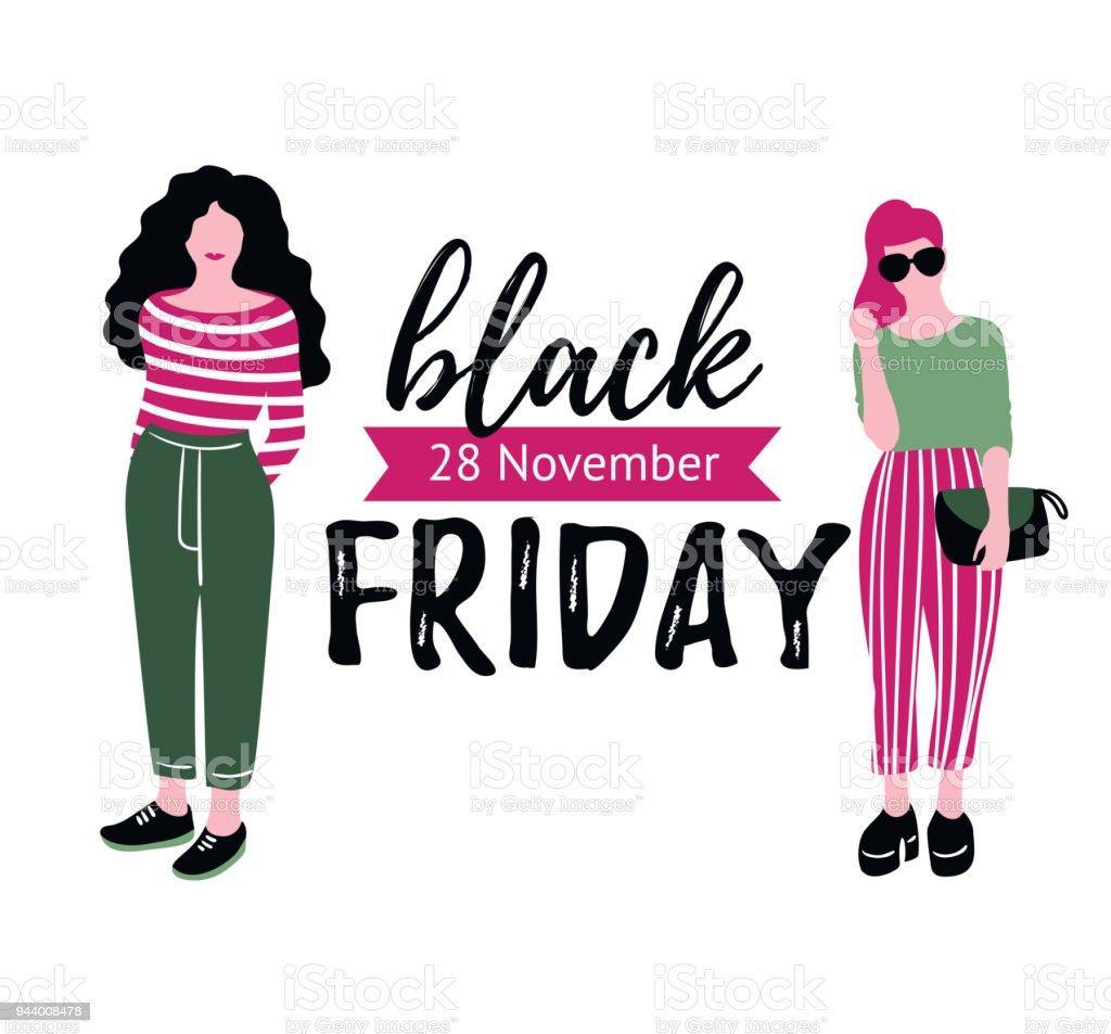 Black Friday Sale Inscription With Fashion Girls Design Vector