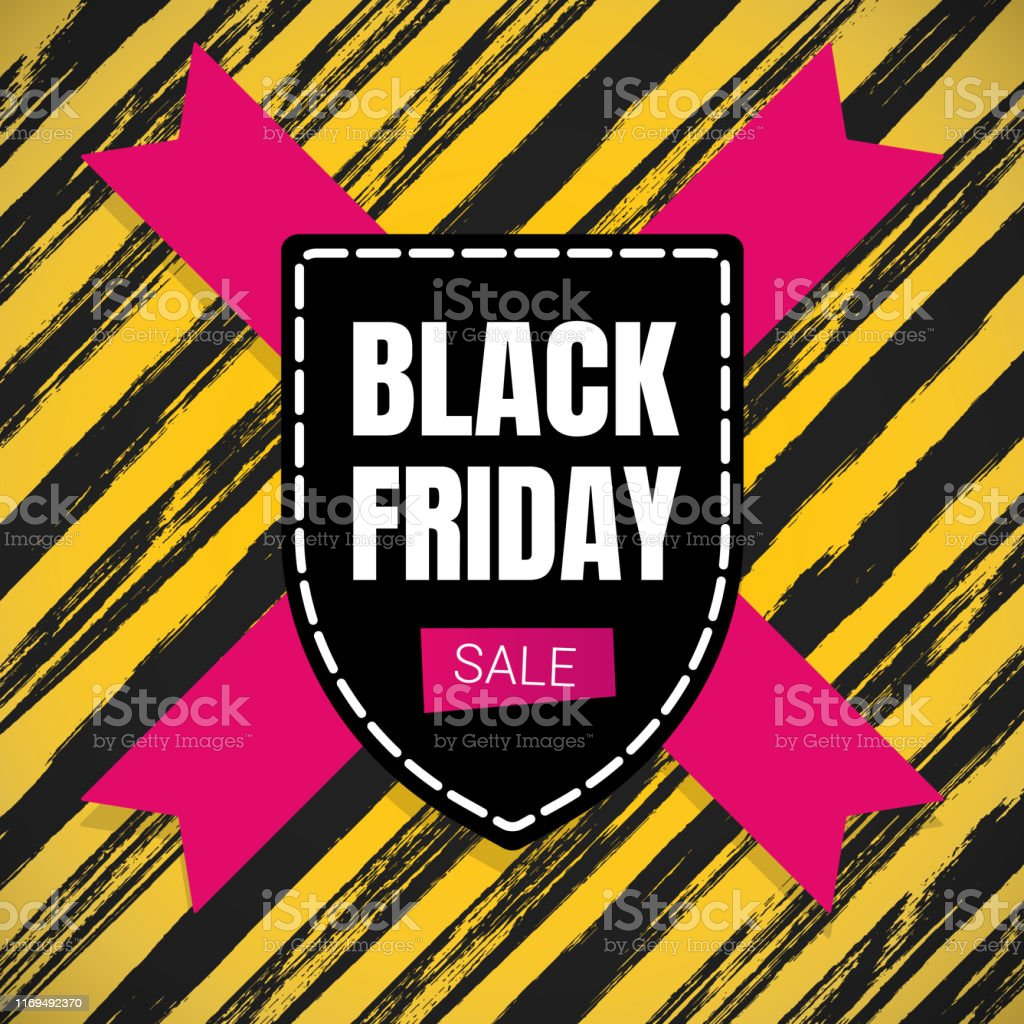 Black Friday Sale Inspiration Poster Banner Or Flyer Vector Illustration Isolated On Brush Stroke Background Big Holiday Mega Sale With Ribbon Label Tag And Text Stock Illustration Download Image Now Istock