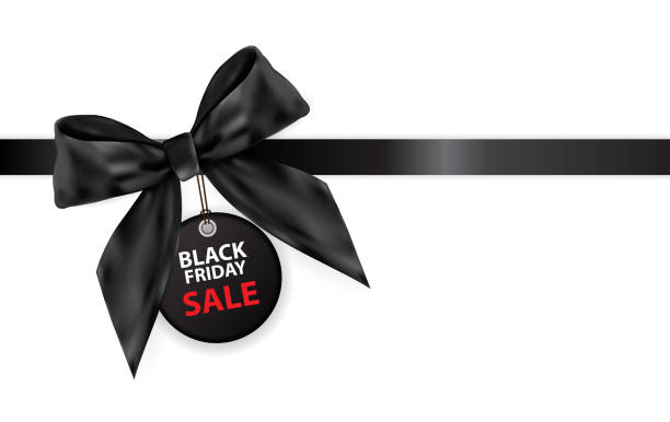 Black Friday Sale Labei with Bow and Ribbon Isolated on White Background Vector Illustration vector art illustration