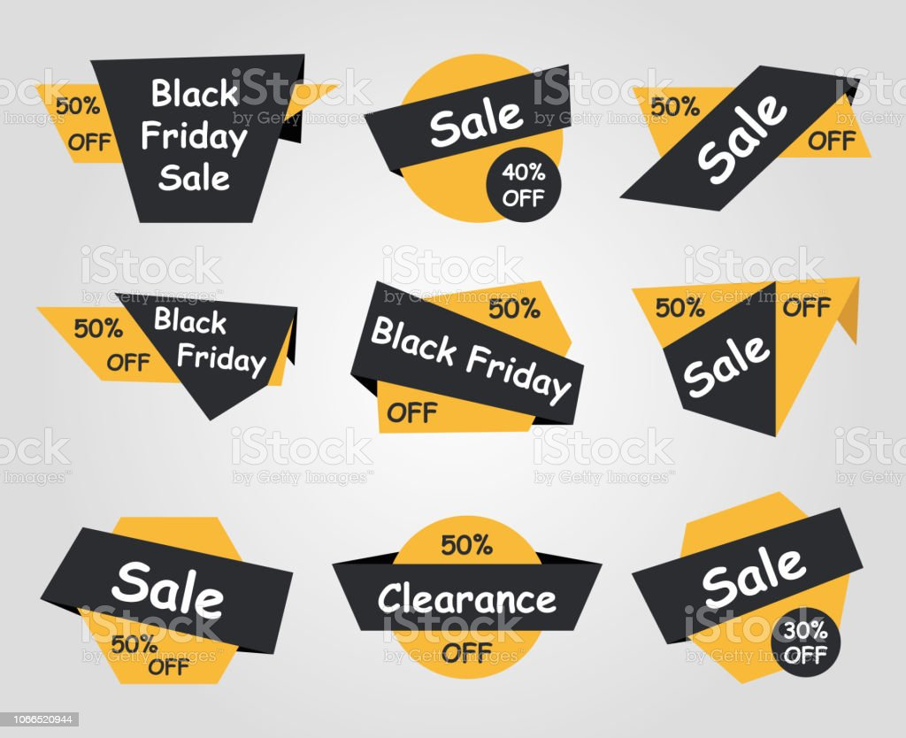 Black Friday Sale Labels Different Type Stickers Stock