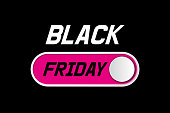 Black Friday sale layout background with On Off toggle switch button.