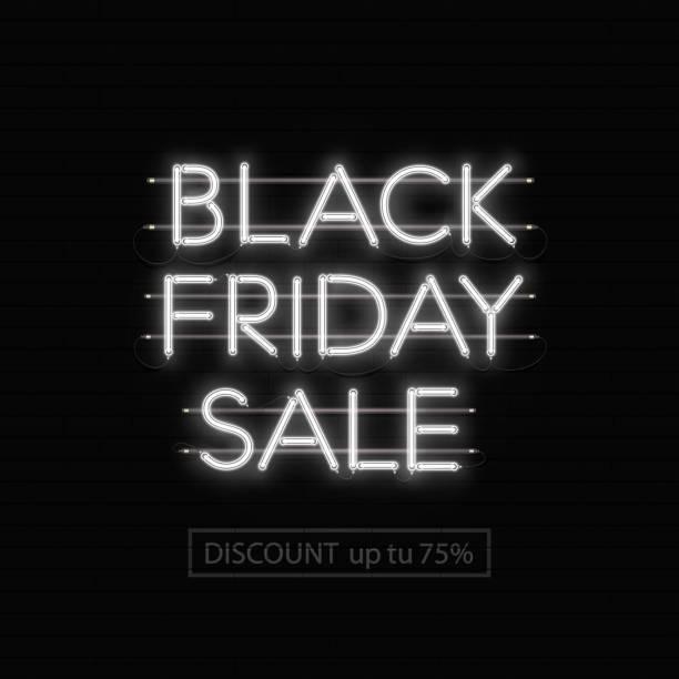 Black Friday Verkauf Neon Inschrift auf schwarzem Mauerwerk – Vektorgrafik