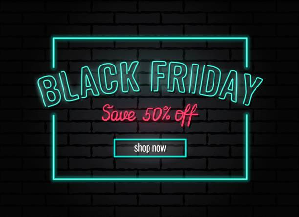 Black friday sale neon poster. Black friday sale neon poster. Vector illustration. black friday sale neon stock illustrations