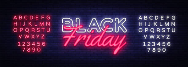 ilustrações, clipart, desenhos animados e ícones de preto sexta-feira venda texto neon vetor modelo de design. black friday venda logo neon, banner luz design elemento colorido design moderno tendência, noite brilhante publicidade. vetor. editando o sinal de néon do texto - black friday