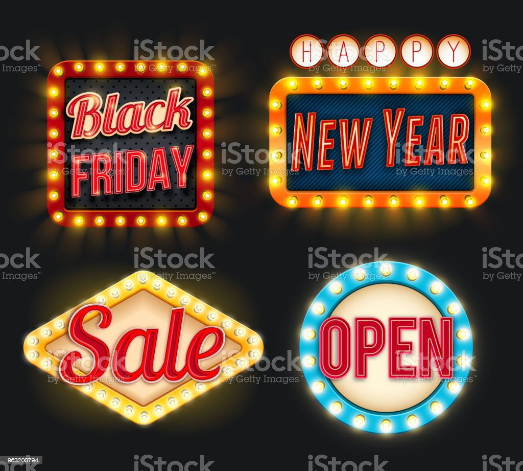 Black Friday Sale New Year Open Vector Retro Icons Stock