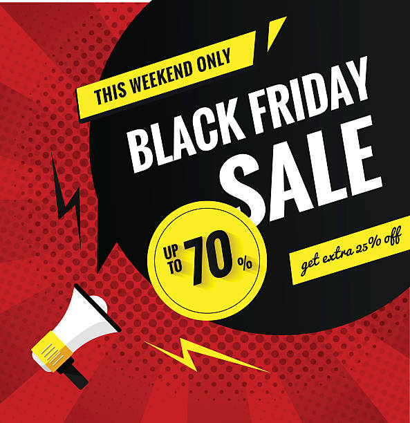 Black friday sale pop art banner. Black friday sale banner.Sale poster with geometric shapes and megaphone.; Vector background in; in pop art style.; Vector illustration. commercial event stock illustrations
