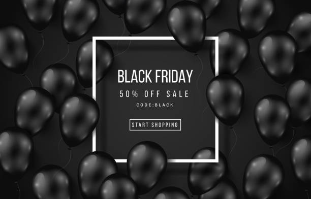 Black Friday Sale Poster Dark Black Friday Sale Poster with Shiny Balloons on Dark Background with Square Frame. Vector illustration. black friday sale stock illustrations