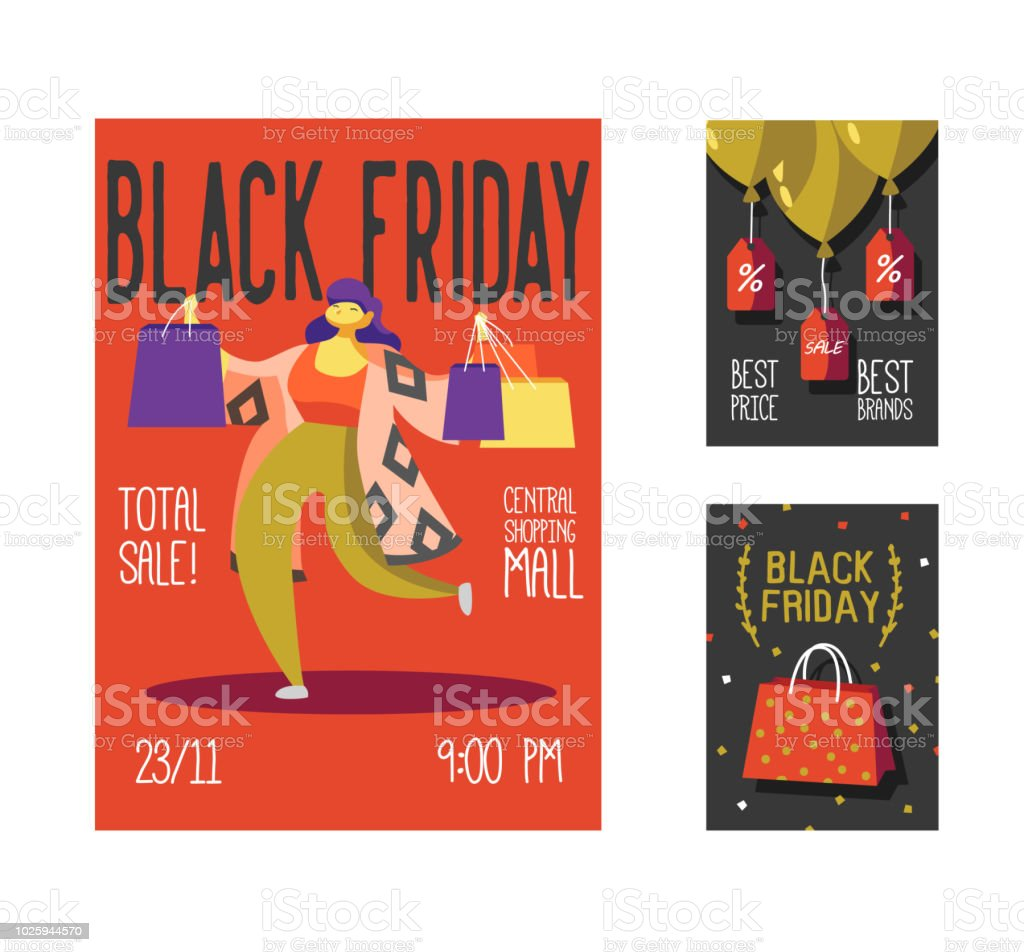 black friday sale poster flyer placard shop holiday promotion event brochure with woman
