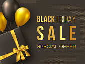 Black Friday sale poster or banner. Luxury design with box, ballons and realistic golden silk bow on dotted background. Concept for seasonal discounts. Vector illustration.