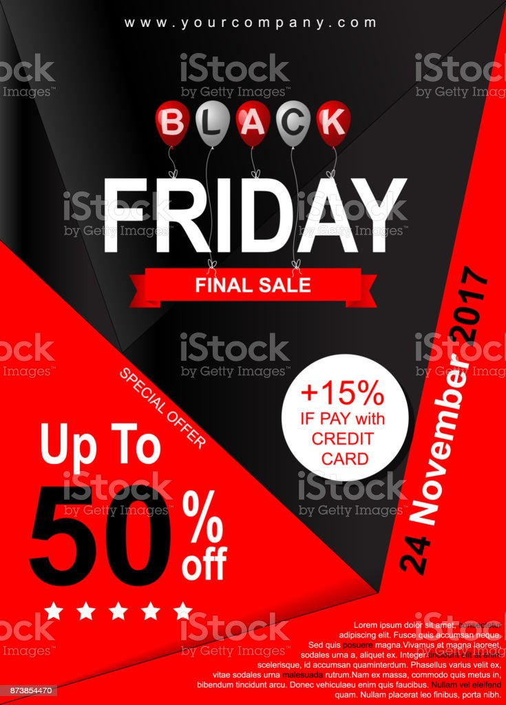 black friday sale poster template banner for advertising stock
