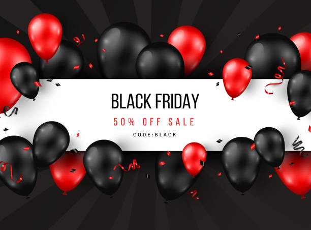 Black Friday Sale Poster Black Friday Sale poster with shiny balloons, confetti and horizontal frame. Vector illustration. black friday sale stock illustrations