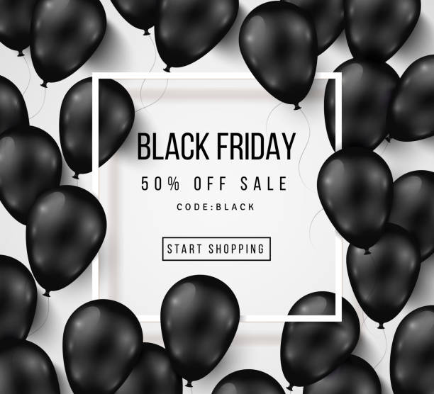 Black Friday Sale Poster with Balloons on White - Illustration vectorielle