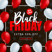 Black Friday Sale Poster with Balloons - vector Illustration
