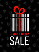 Black Friday Sale Poster with Barcode and Box - vector Illustration