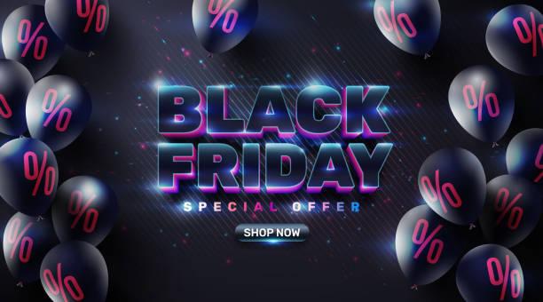ilustrações, clipart, desenhos animados e ícones de poster preto da venda de sexta-feira com balões pretos para o varejo, a compra ou a promoção preta de sexta-feira no estilo sparkling e da luz de néon. ilustração eps10 do vetor - black friday