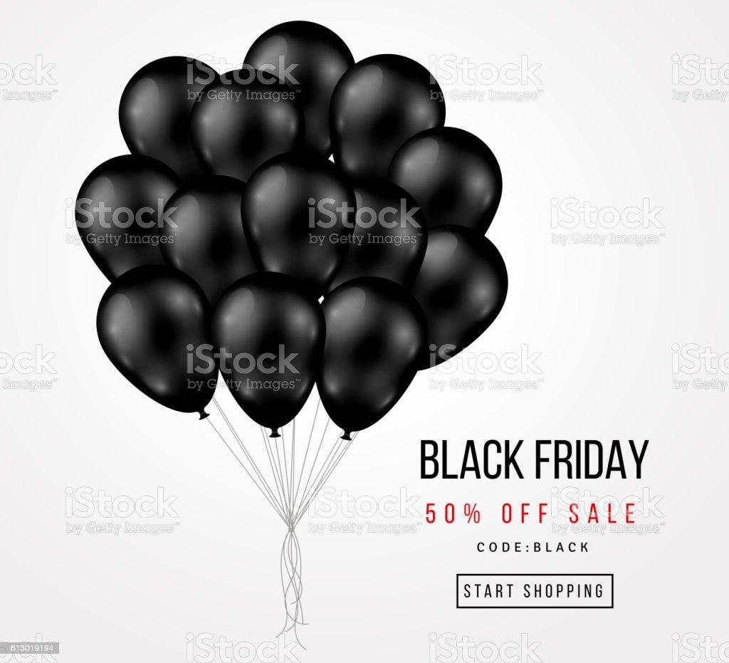 Black Friday Sale Poster with Dark Balloons Bunch vector art illustration