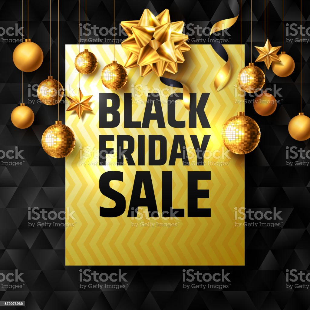 Black Friday Sale Poster with golden ribbon and christmas decoration elements for Retail,Shopping or Black Friday Promotion in golden and black style.Vector illustration vector art illustration