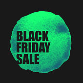 Black Friday Sale Poster with green Watercolor Spot.