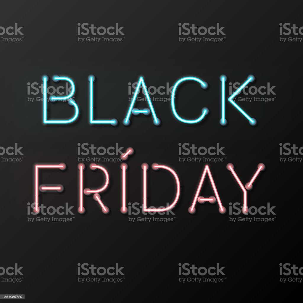Black Friday Sale Poster with Neon Letters royalty-free black friday sale poster with neon letters stock vector art & more images of birthday