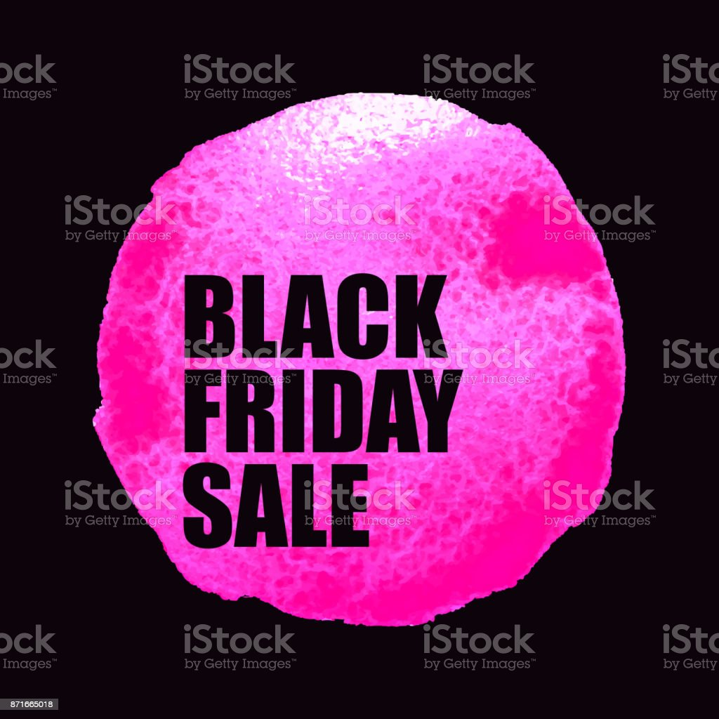 f8256a2c834 Black Friday Sale Poster with pink Watercolor Spot. royalty-free stock  vector art