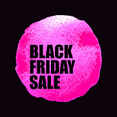 Black Friday Sale Poster with pink Watercolor Spot.