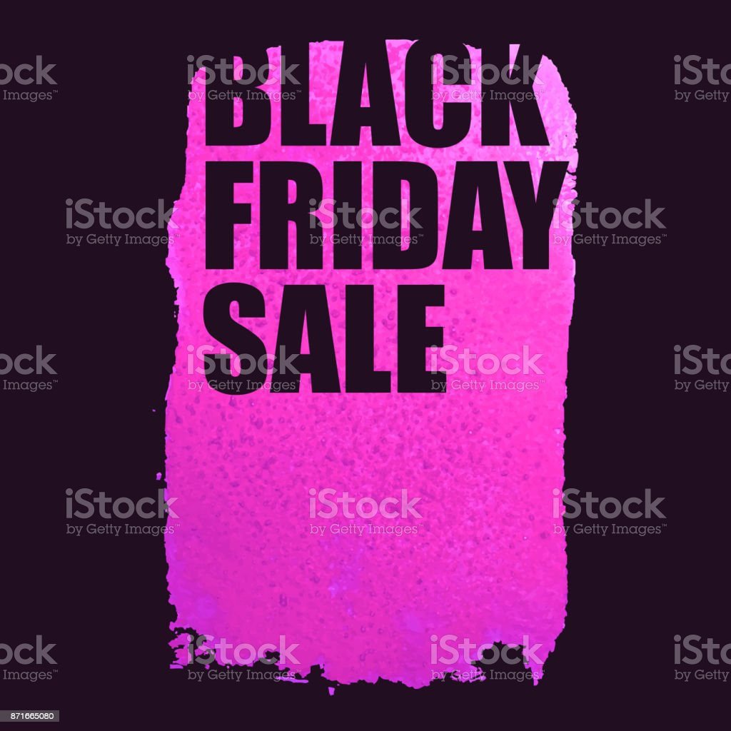 b0d1df9c325 Black Friday Sale Poster With Pink Watercolor Spot Stock Vector Art ...