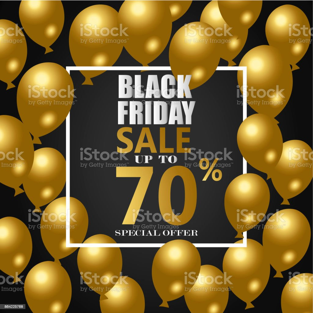 Black Friday Sale Poster with Shiny Balloons on royalty-free black friday sale poster with shiny balloons on stock vector art & more images of agreement