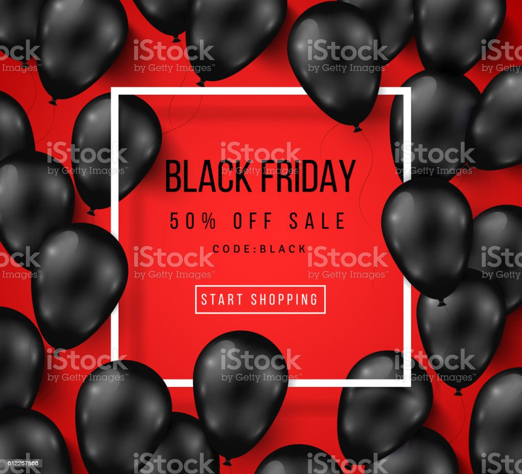 Black Friday Sale Poster with Shiny Balloons vector art illustration