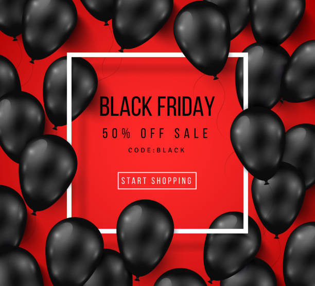 Black Friday Sale Poster with Shiny Balloons Black Friday Sale Poster with Shiny Balloons on Red Background with Square Frame. Vector illustration. black friday sale background stock illustrations