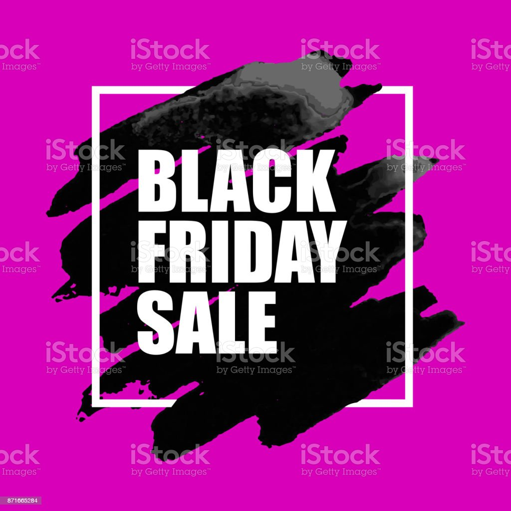 8743c6f7bfa Black Friday Sale Poster with Watercolor Spot on pink Background. -  Illustration .