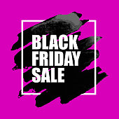 Black Friday Sale Poster with Watercolor Spot on pink Background.