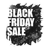 Black Friday Sale Poster with Watercolor Spot on White Background.