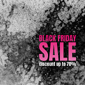 Black Friday Sale Poster with Watercolor texture.