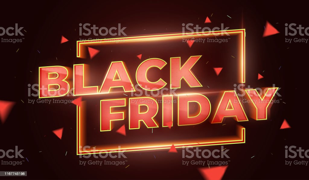 Black Friday Sale Promotion Poster or banner. Social Media Banner Design Template. 3d inscription with highlights and sparks of gold and red colors. Discount and promotion banner. Vector Illustration Abstract stock vector