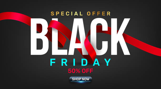 Black Friday Sale Promotion Poster or banner with red ribbon concept.Special offer 50% off sale in black color style.Promotion and shopping template for Black Friday.Vector illustration eps 10 Black Friday Sale Promotion Poster or banner with red ribbon concept.Special offer 50% off sale in black color style.Promotion and shopping template for Black Friday.Vector illustration eps 10 black friday sale background stock illustrations