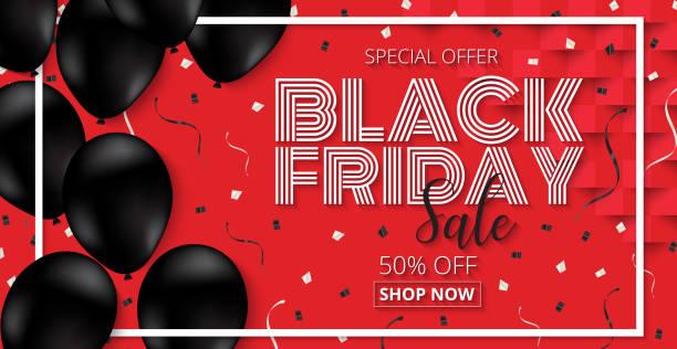 Black Friday Sale promotion  Poster with black Balloons  on red Background. Black Friday Sale promotion  Poster with black Balloons  on red Background. Vector illustration EPS10. nu stock illustrations