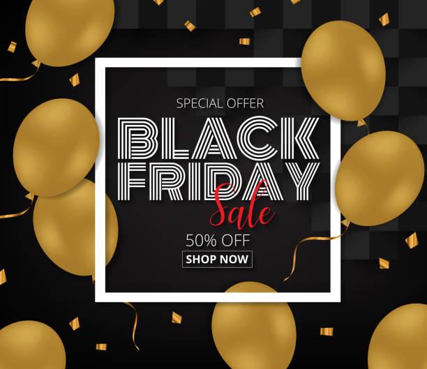 Black Friday Sale promotion  Poster with Gold Balloons  on Black Background. Black Friday Sale promotion  Poster with Gold Balloons  on Black Background. Vector illustration EPS10. nu stock illustrations