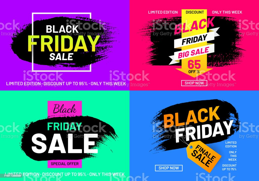 Black Friday Sale Promotion Posters Set Stock Illustration Download Image Now Istock
