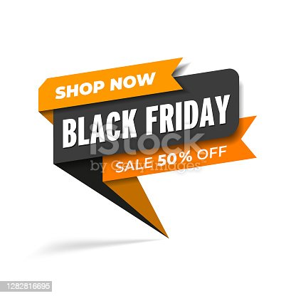 istock Black Friday sale promotion web banner heading design on graphic white background vector for banner or poster. Sale and discount concept 1282816695