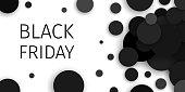 Black Friday Sale Promotional Black Confetti Banner. Eps 10 vector.