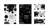 Black friday sale discounts template. Set of promotional, advertising banner with black confetti. Eps 10 vector.