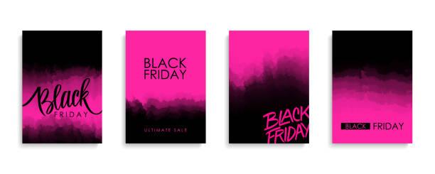 ilustrações, clipart, desenhos animados e ícones de folhetos promocionais de venda de sexta-feira negra ou capas para preto sexta-feira comercial, empresarial, comércio, promoção e publicidade. - black friday