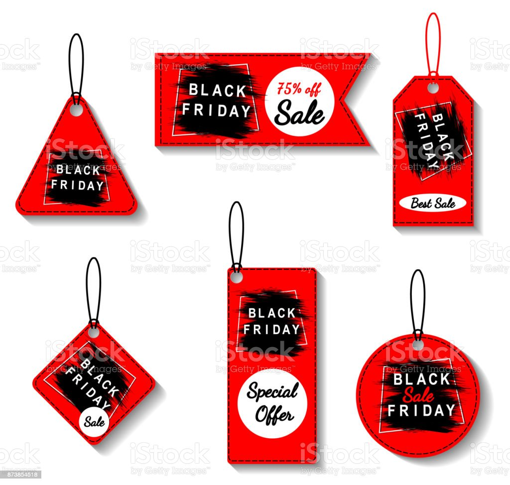 black friday sale red tags set advertising vector illustration special offer discount