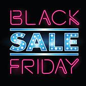 Black Friday Sale retro light frame. Vector illustration neon art