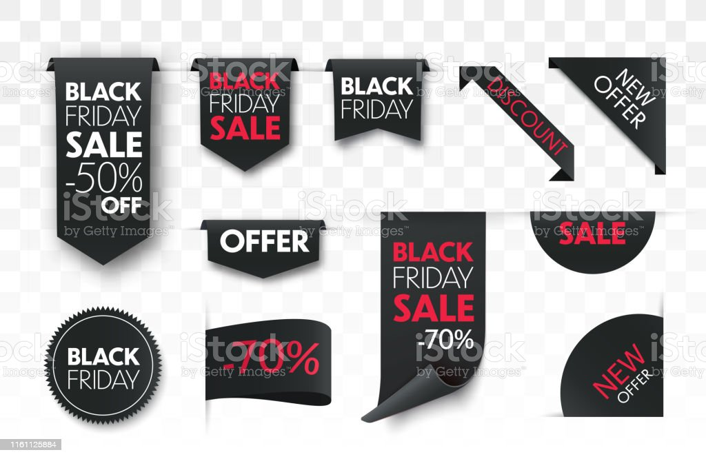 Black friday sale ribbon banners collection isolated. - Royalty-free Autocolante arte vetorial