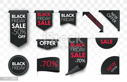 Black friday sale ribbon banners collection isolated. Vector price tags.