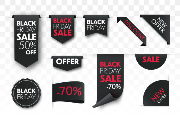 Black friday sale ribbon banners collection isolated. Black friday sale ribbon banners collection isolated. Vector price tags. black friday sale stock illustrations