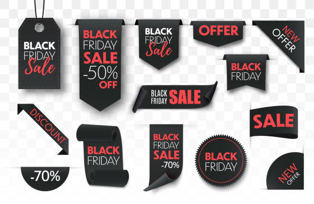 black friday verkauf band banner sammlung isoliert. - black friday stock-grafiken, -clipart, -cartoons und -symbole